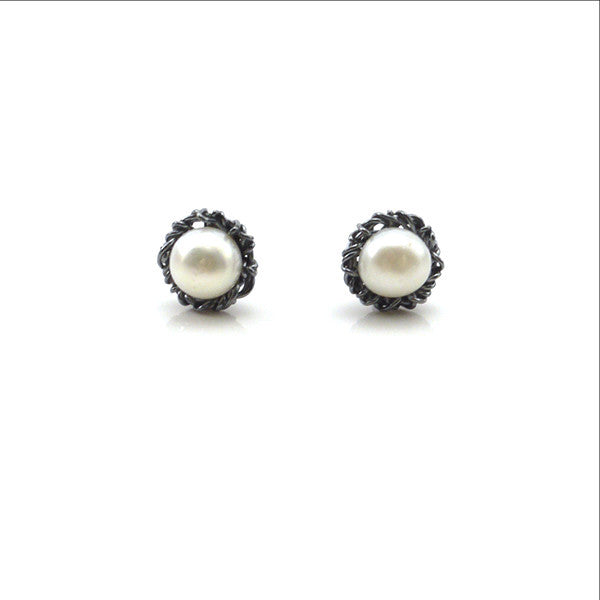 Pearl on Nest Oxidized Sterling Silver Studs