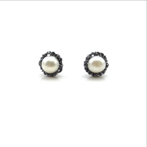 Nest Shaped Pearl Oxidized Sterling Silver Studs