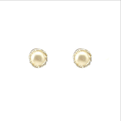 Nest Shaped Pearl Sterling Silver Studs