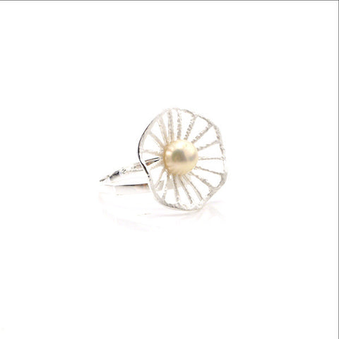 Lotus Leaf Shaped Pearl Sterling Silver white Ring