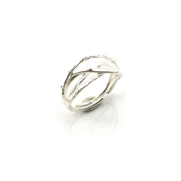 Thick Branch Silver Ring