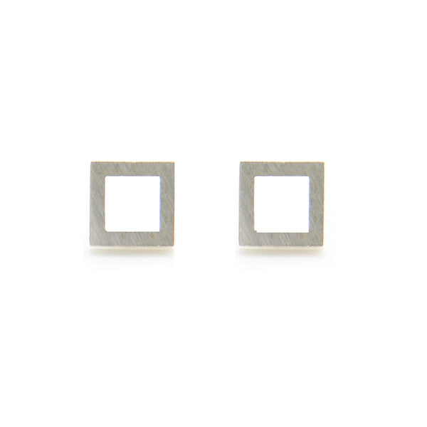 Cut-out Square Silver Studs