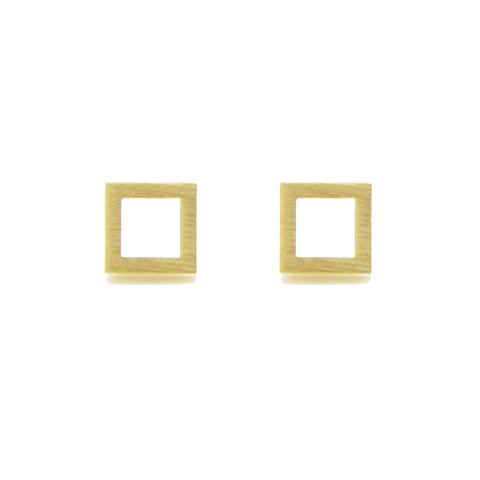 Cutout Square Gold Studs