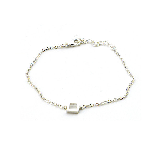 Cut-out Square Silver Bracelet