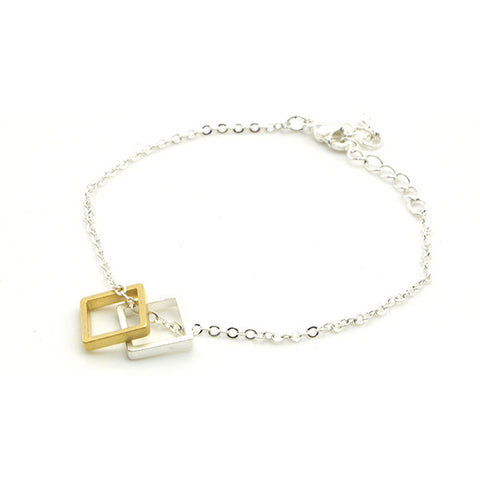 Duo Square Gold & Silver Bracelet