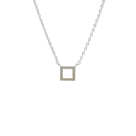 Cut-out Square Silver Short Necklace
