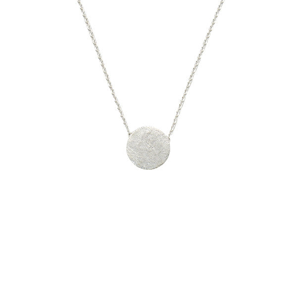 Solid Circle Silver Short Necklace