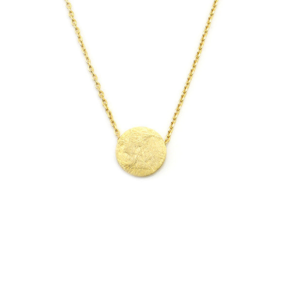 Solid Circle Gold Short Necklace