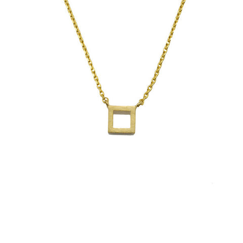 Cut-out Square Gold Short Necklace