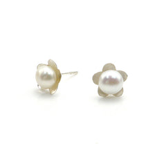 FLower Shaped Pearl Sterling Silver Studs