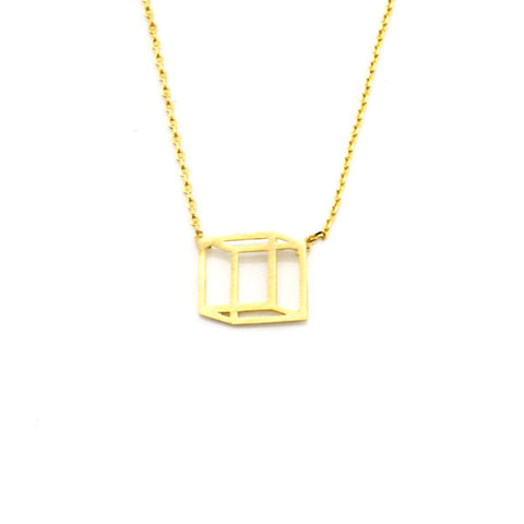 3D Cube Gold Short Necklace