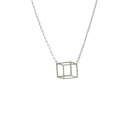 3D Cube Silver Short Necklace
