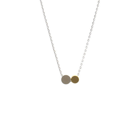 Duo Buttons Silver Short Necklace