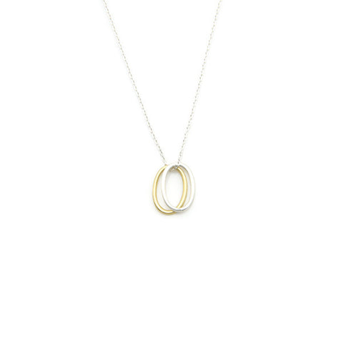 Duo Oval Silver Short Necklace