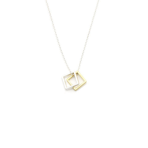 Duo Square Silver Short Necklace
