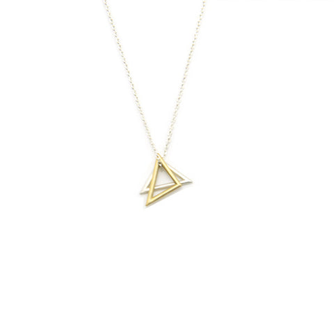 Duo Triangle Silver Short Necklace
