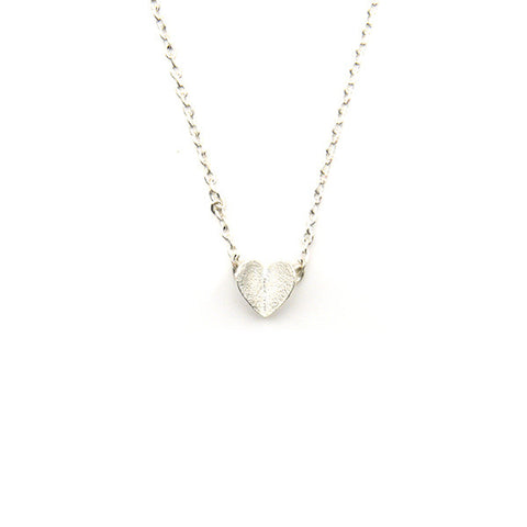 Folding Heart Silver Short Necklace