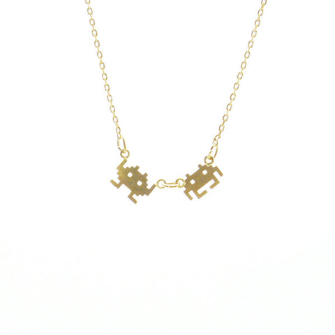 Invader Gold Short Necklace