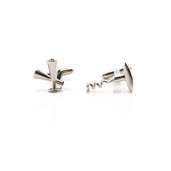 Wine Bottle Opener and Champagne Glass Cufflinks