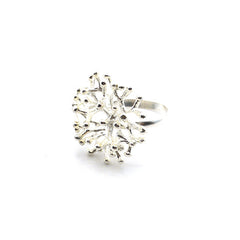 Lace Coral Sterling Silver Adjustable Ring