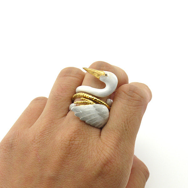 Crane Bird 3 Pieces Set Ring