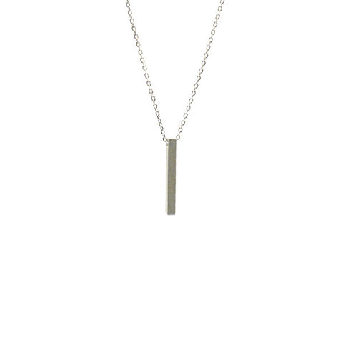 Bar Silver Short Necklace