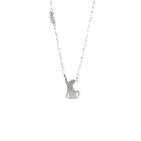 Cat Silver Short Necklace