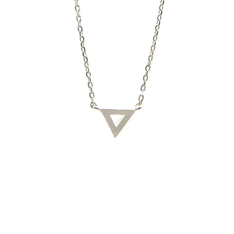 Cutout Triangle Silver Short Necklace