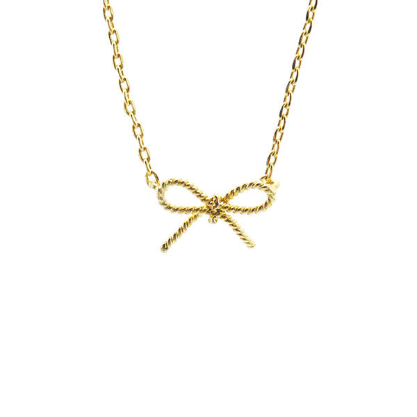 Ribbon Gold Short Necklace