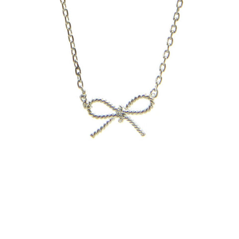 Ribbon Silver Short Necklace