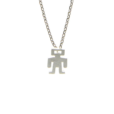 Astronaut Silver Short Necklace
