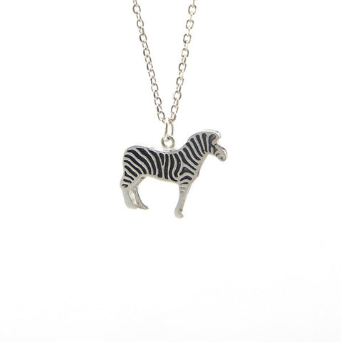 Zebra Silver Short Necklace