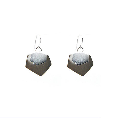 Hexagon Duo Silver Earrings
