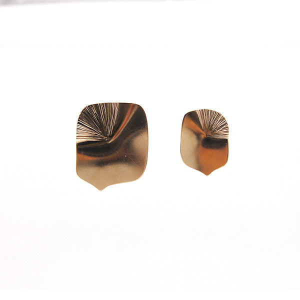 Boxy Comma Rose Gold Studs