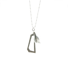 Unifoliate & Pentagon Silver Long Necklace