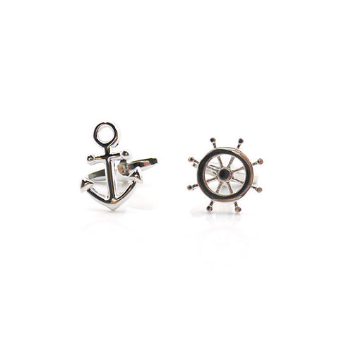Boat Wheel & Anchor Cufflinks