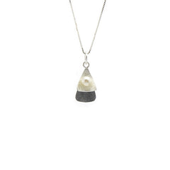 Clip Pearl Black & Sterling Silver Short Necklace