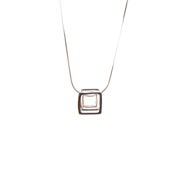 Duo Outlined Cubes Black & Silver Short Necklace