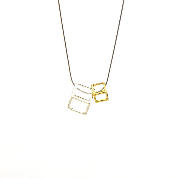Duo Outlined Cubes Gold & Silver Short Necklace