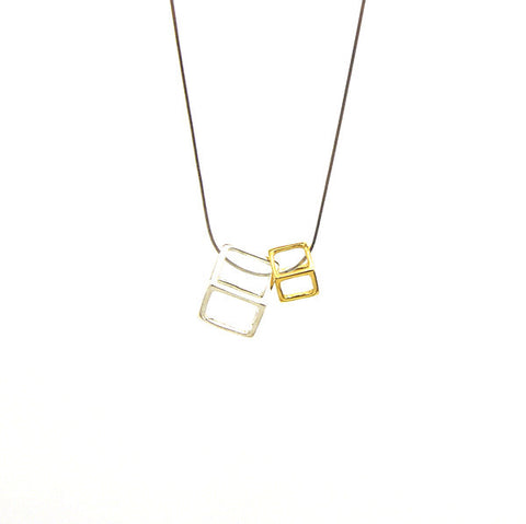 Duo Outlined Cubes (B Silver & S Gold) Sterling Silver Short Necklace