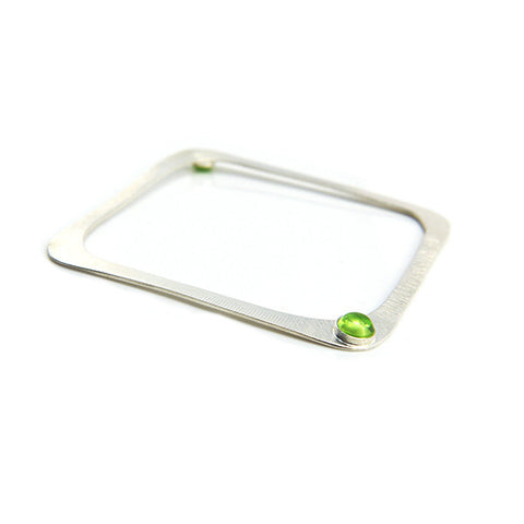 Green Gem Sterling Silver Square Bangle