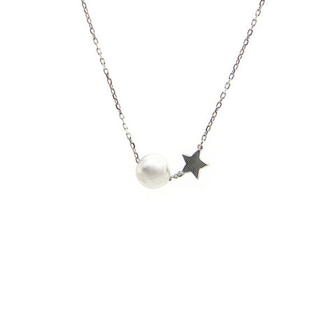 Pearl & Star Sterling Silver Short Necklace