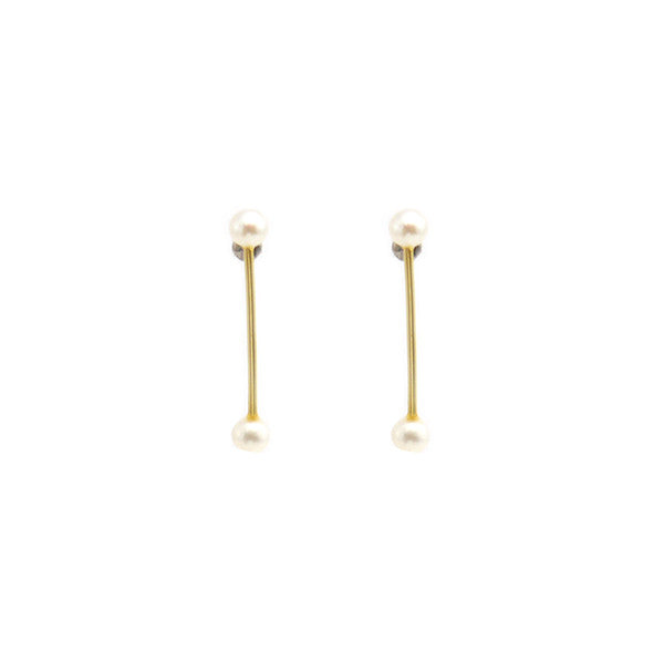 Pearls On Bar Gold Studs