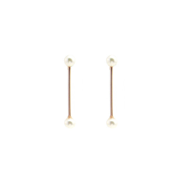 Pearls On Bar Rose Gold Studs