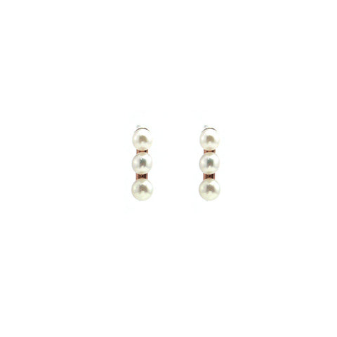 3 Pearls Rose Gold Sterling Silver Studs