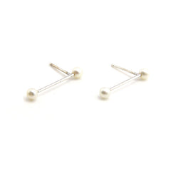 Pearls On Bar Sterling Silver Studs