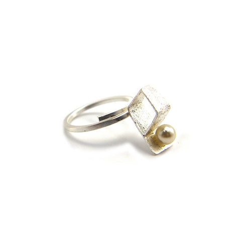 Rhombus Pearl Sterling Silver Adjustable Ring
