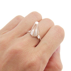 Pyramid Sterling Silver Adjustable Ring