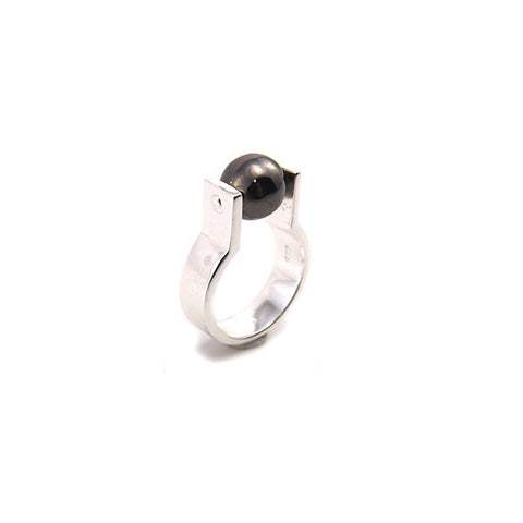Spinning Ball Black Sterling Silver Ring
