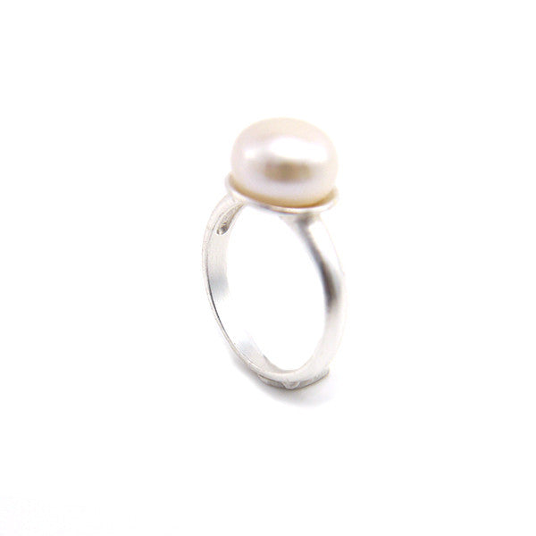 One Pearl Sterling Silver Ring